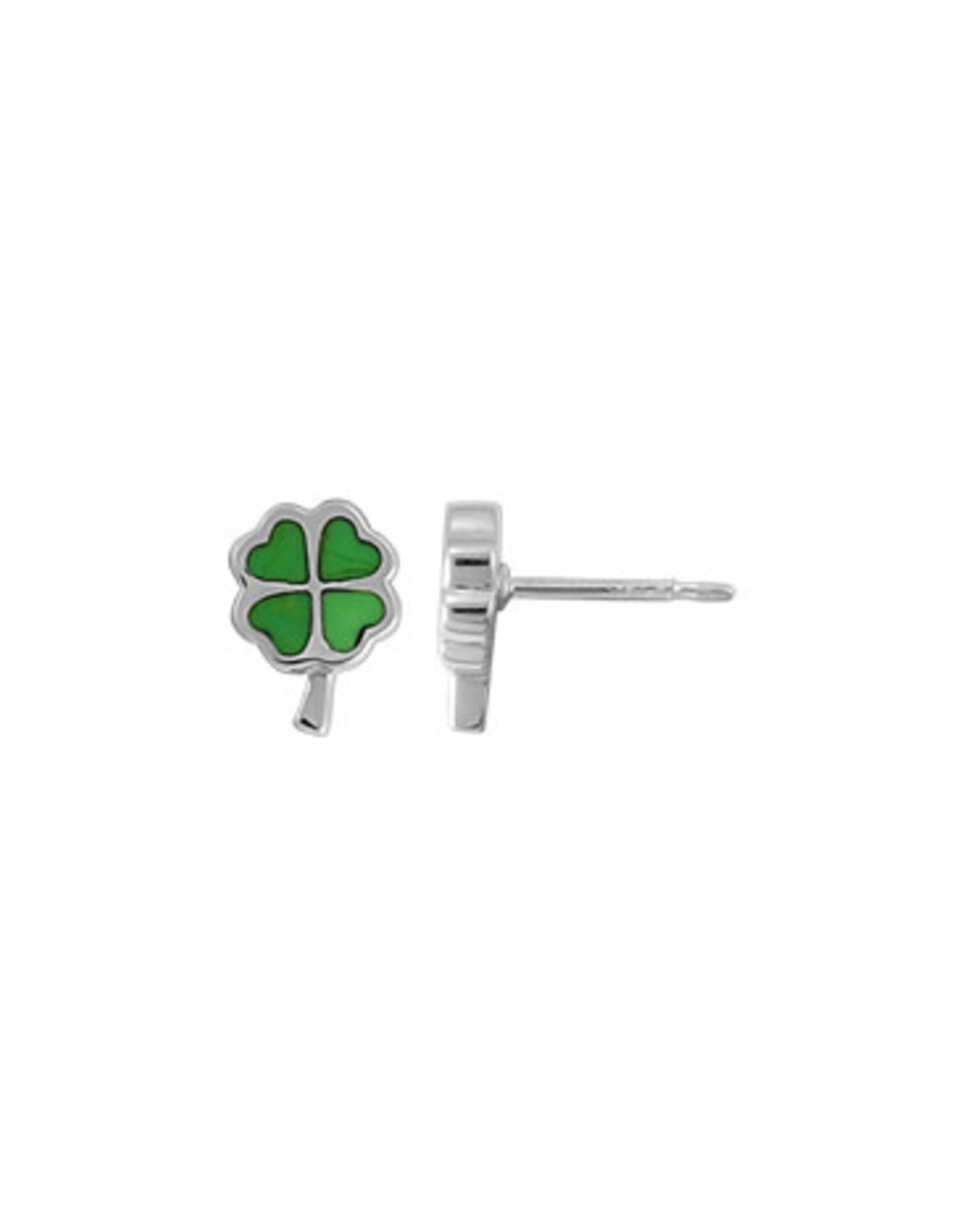 Boma CLOVER GREEN TURQUOISE STUD EARRING SILVER