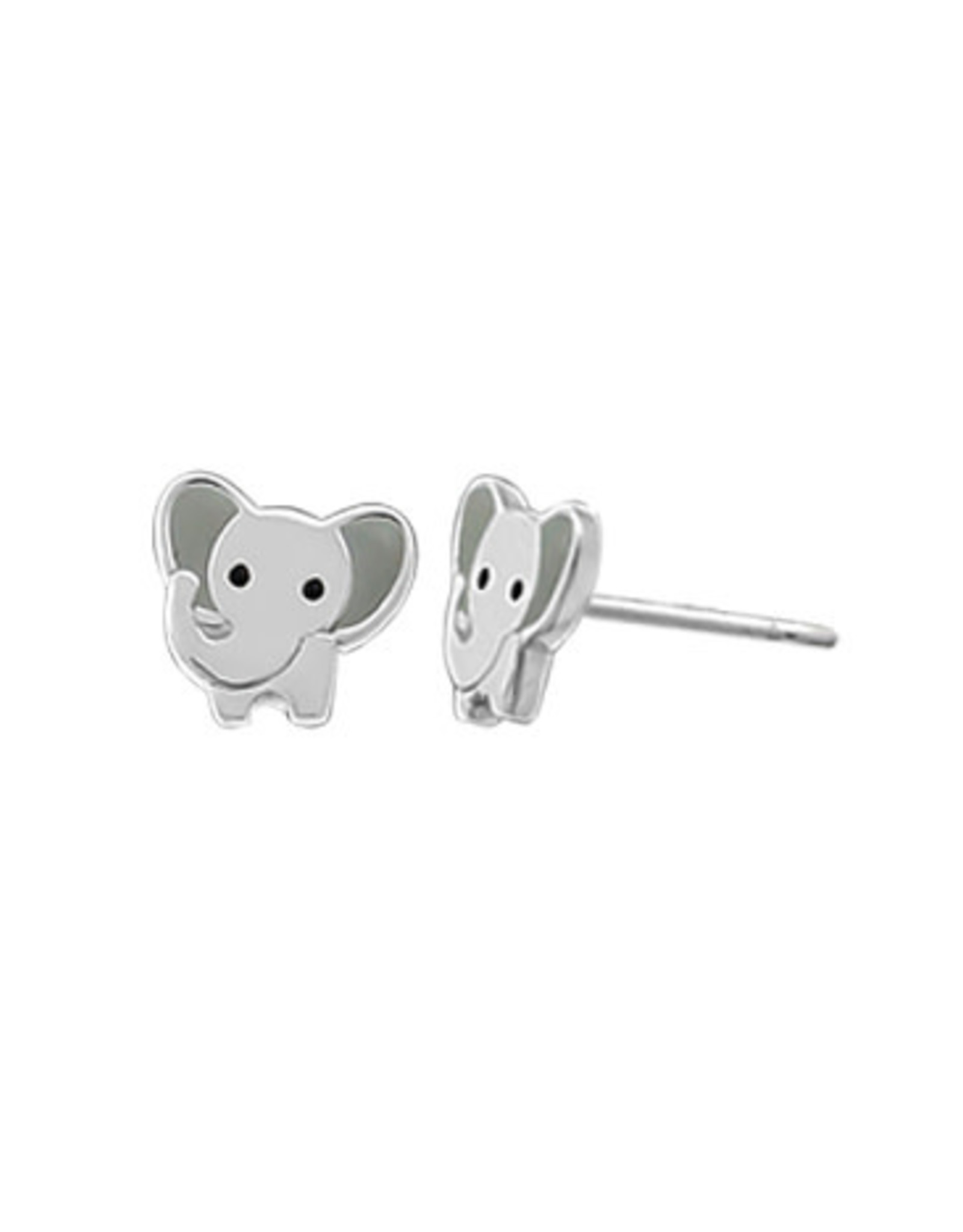 Boma ELEPHANT GRAY RESIN STUD EARRING SILVER