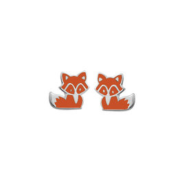 Boma FOX ORANGE RESIN STUD EARRING SILVER