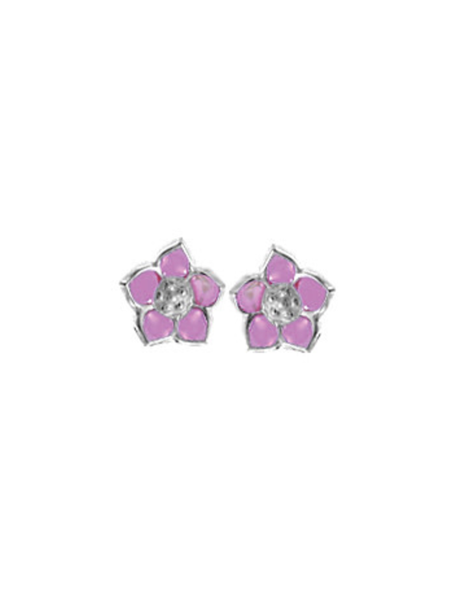 Boma FLOWER PINK RESIN STUD EARRING SILVER