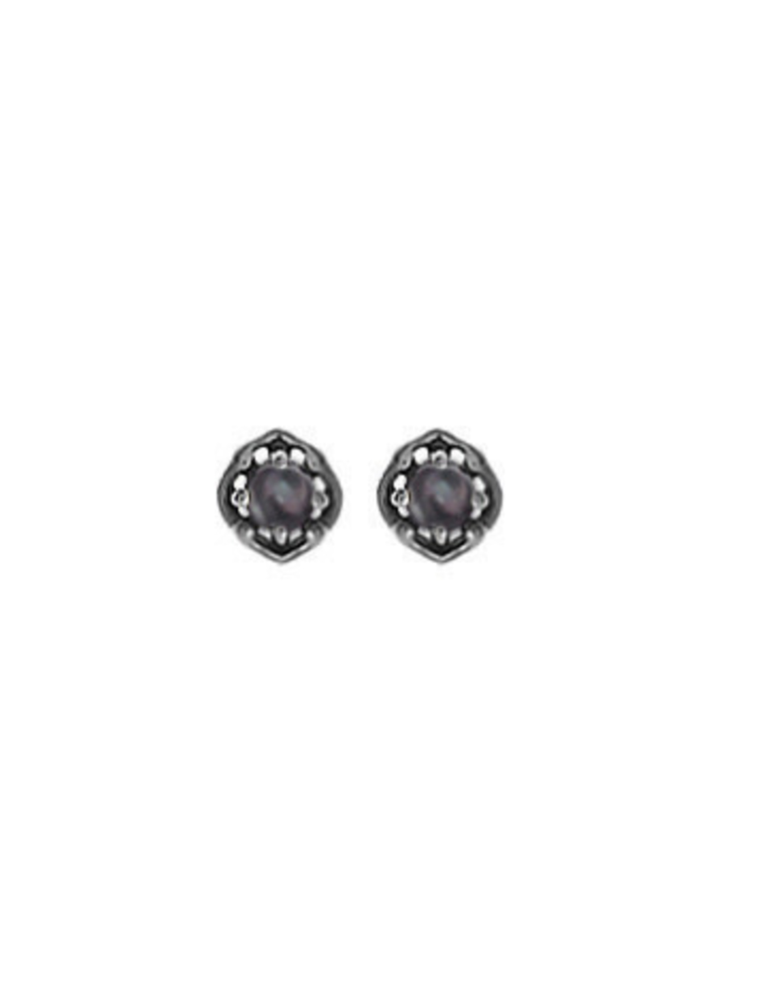 Boma BLACK MOTHER OF PEARL STUD EARRING SILVER