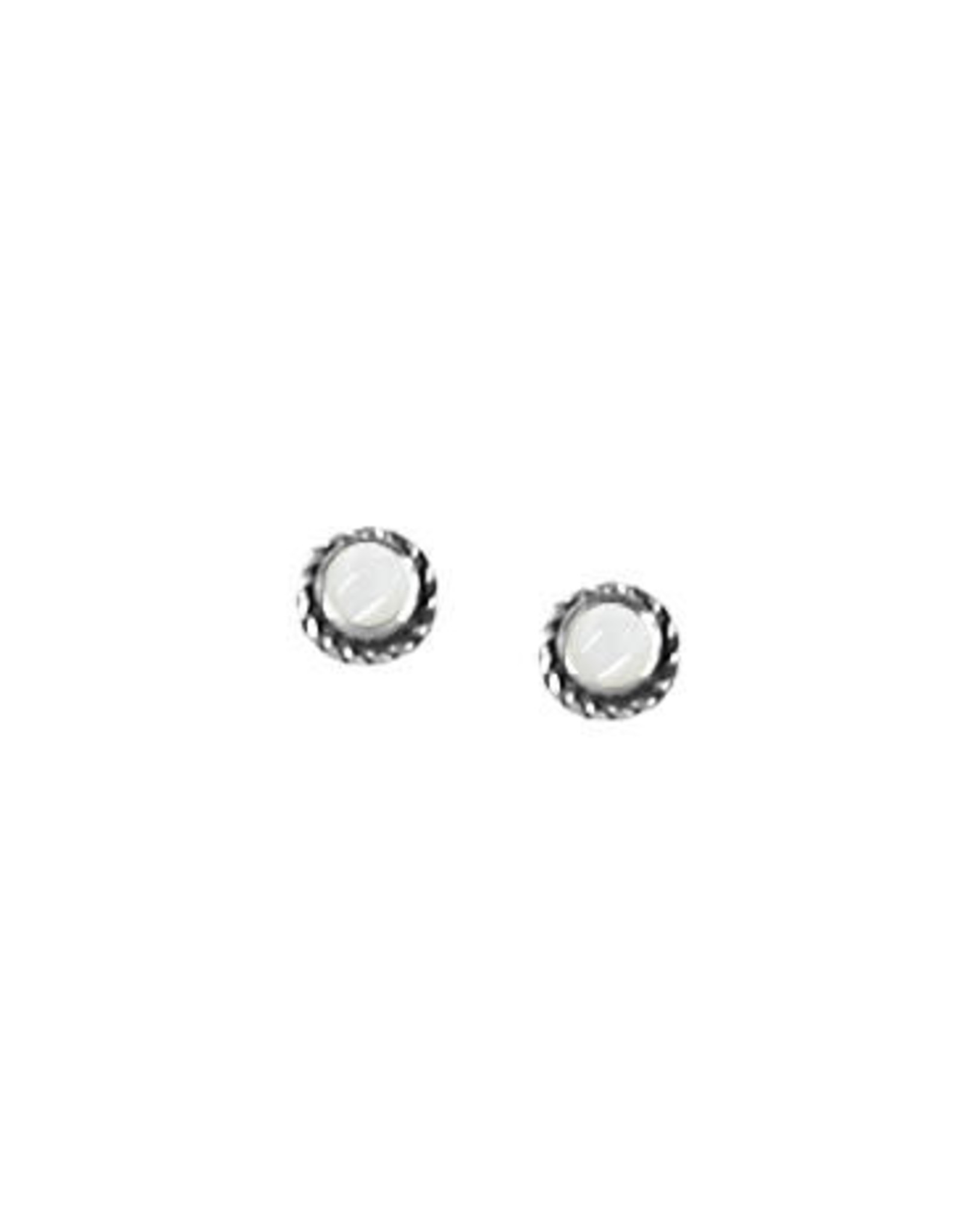 Boma TINY ROUND MOTHER OF PEARL EARRING SILVER