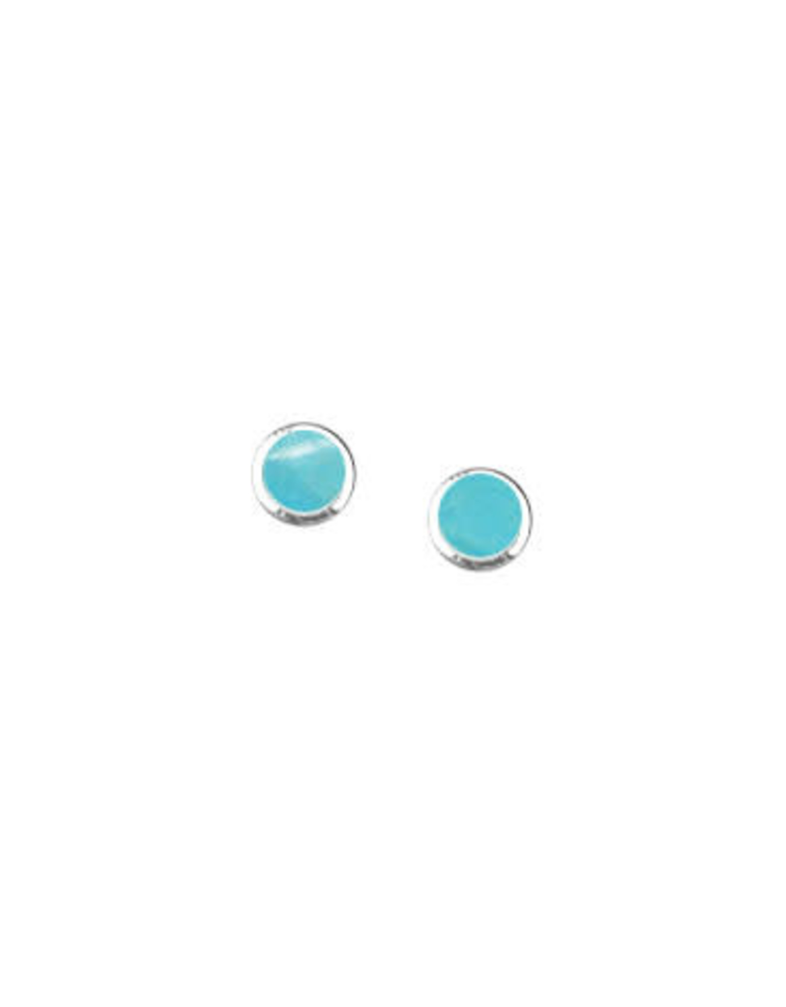 Boma ROUND TURQUOISE STUD EARRING SILVER