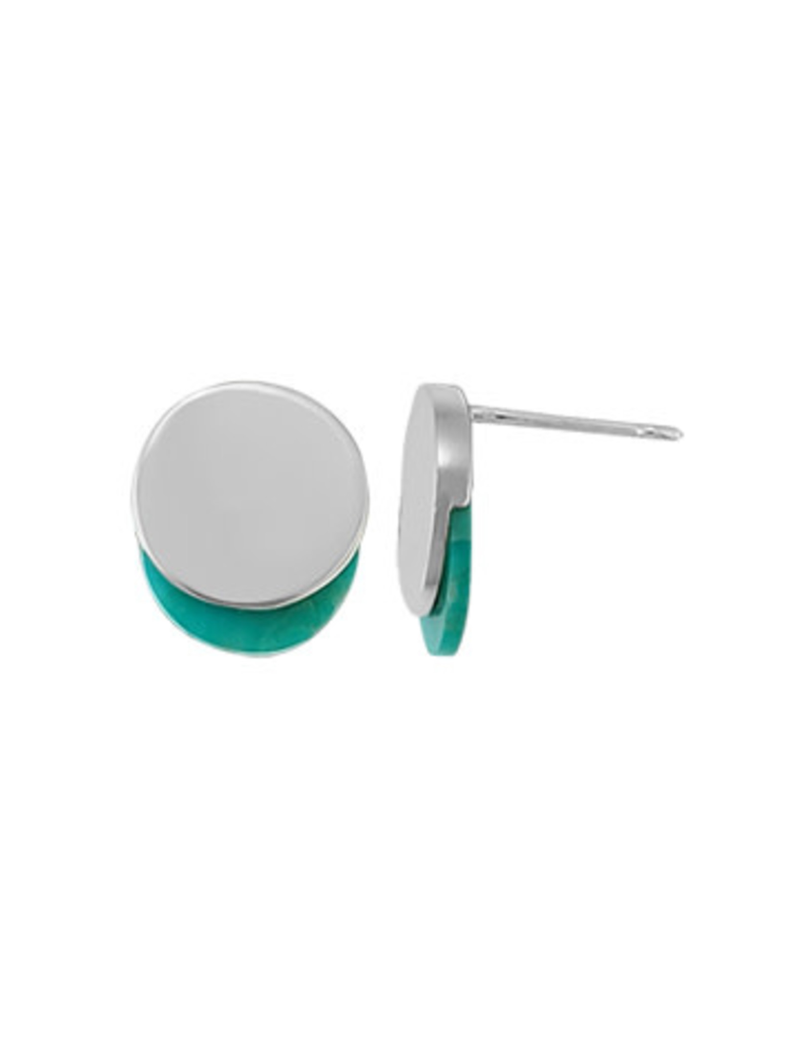 Boma CIRCLE TURQUOISE STUD EARRING SILVER