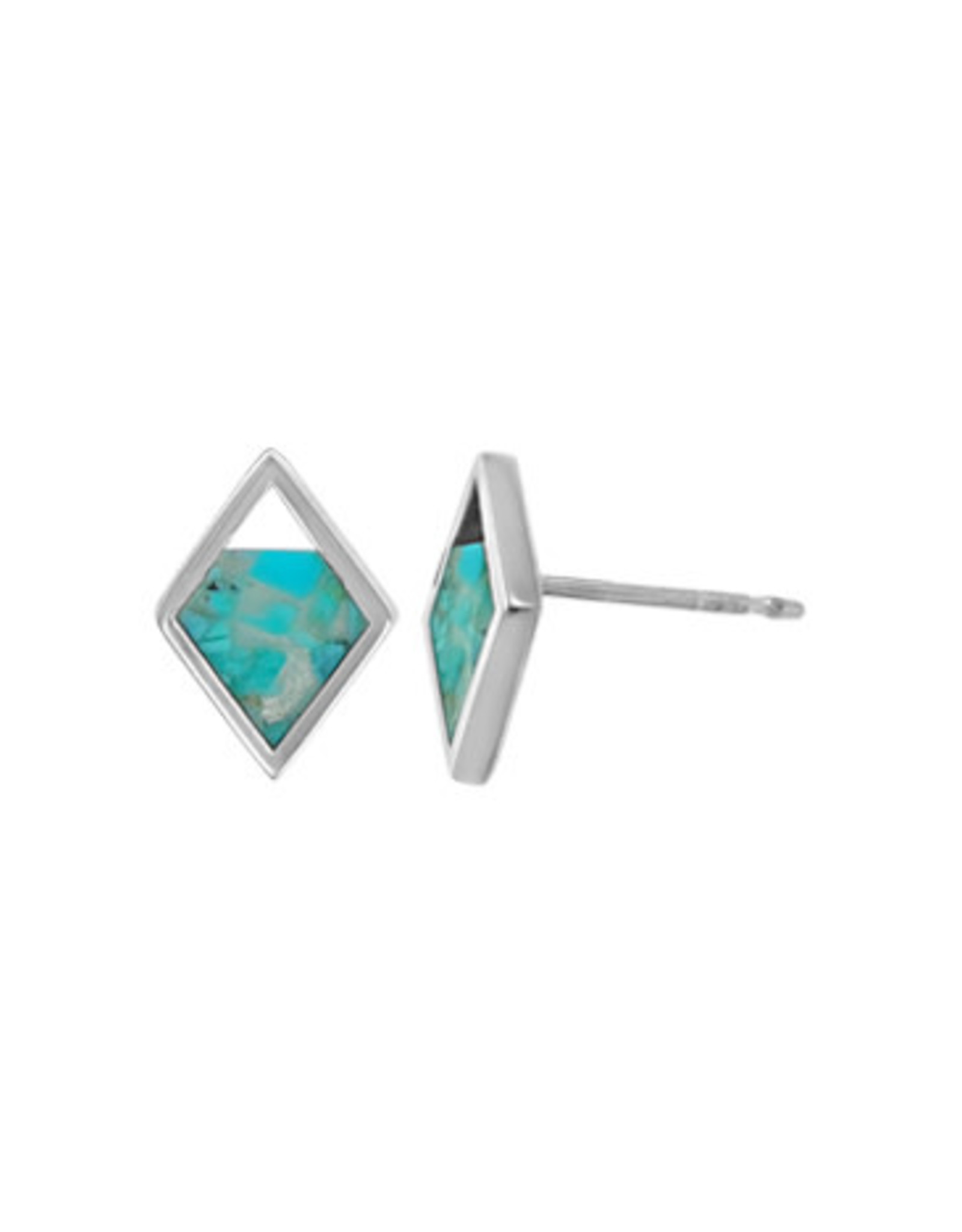 Boma DIAMOND RESIN TURQUOISE STUD EARRING SILVER