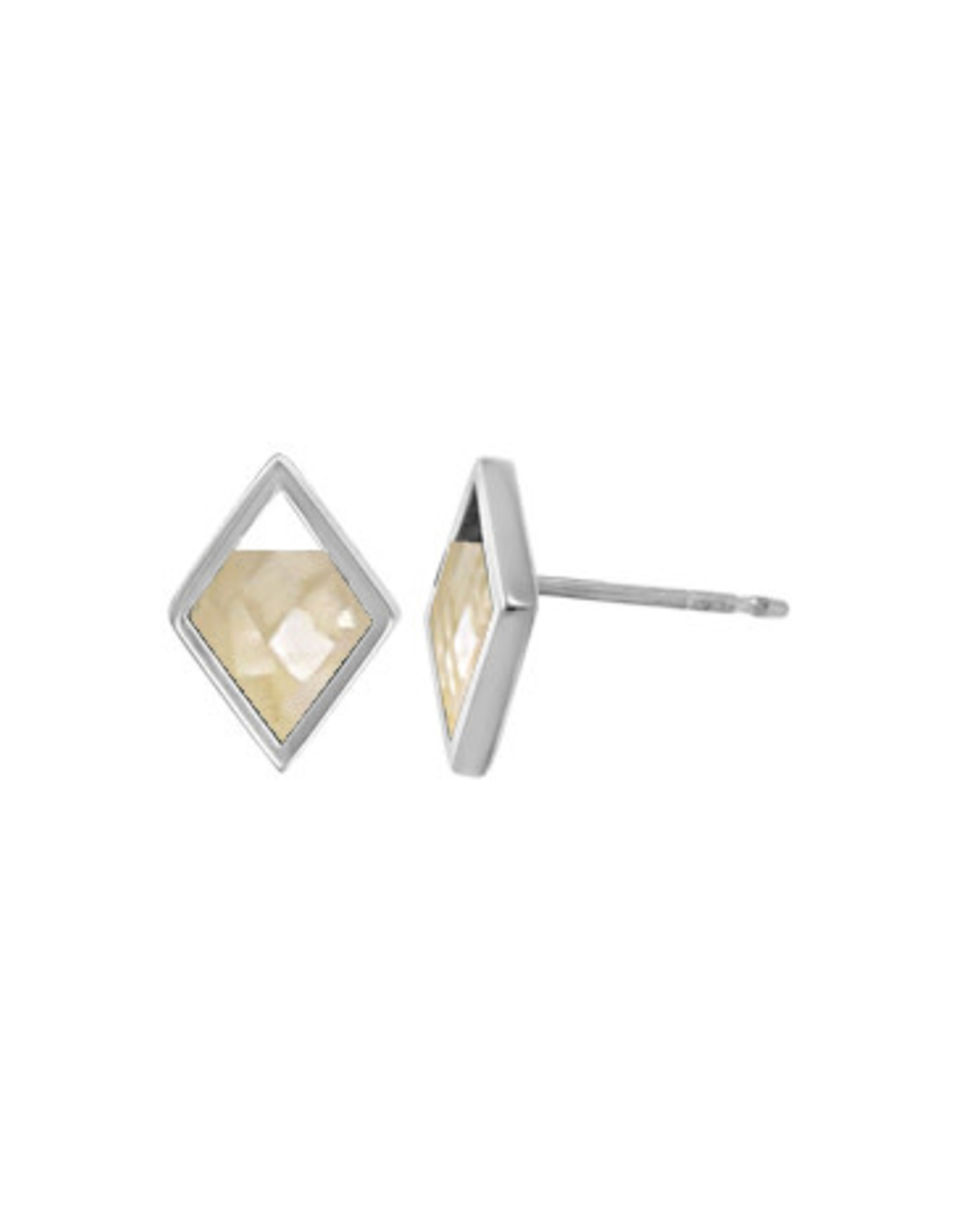 Boma DIAMOND RESIN MOTHER OF PEARL STUD EARRING
