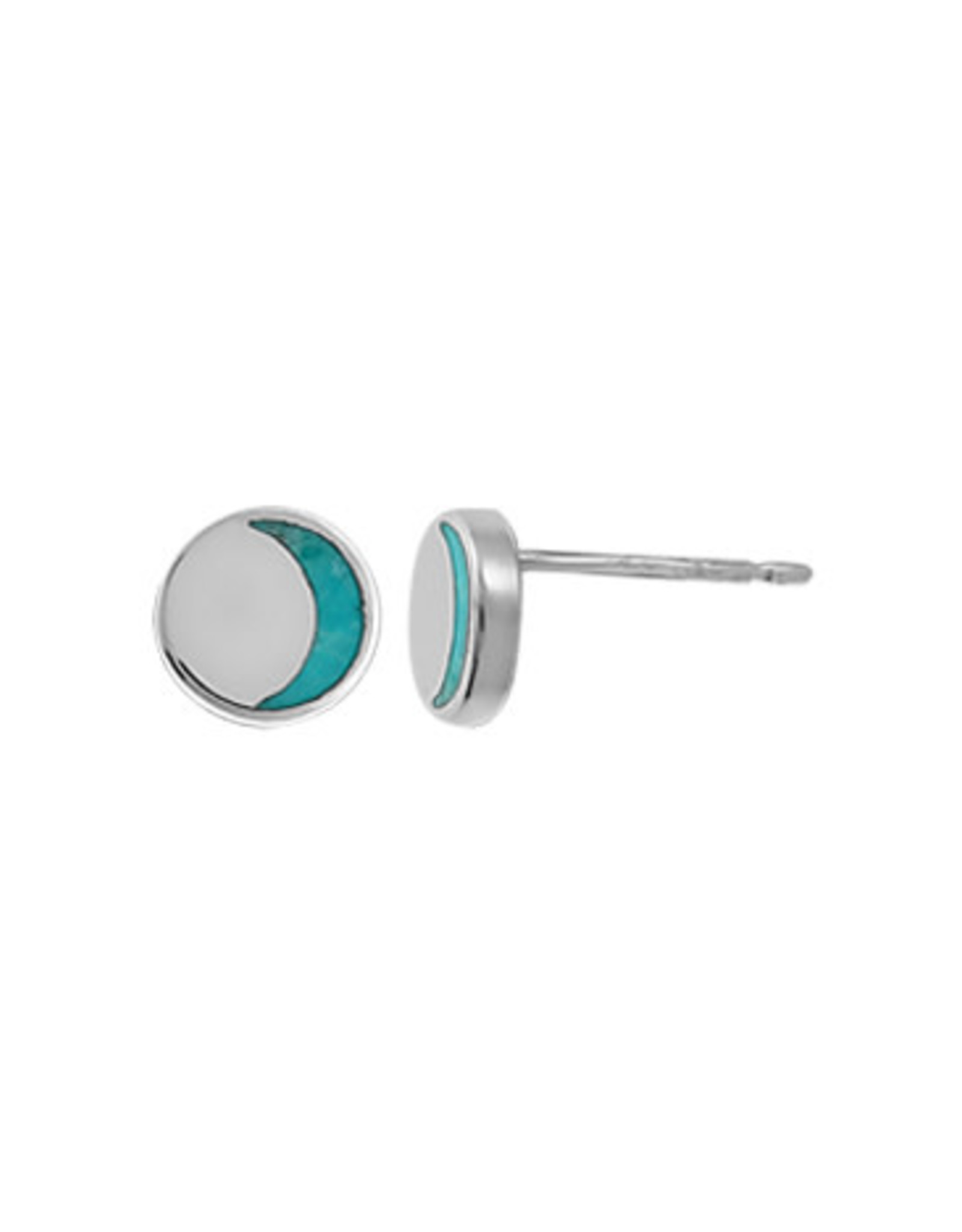 Boma CRESCENT TURQUOISE INLAY STUD EARRING SILVER