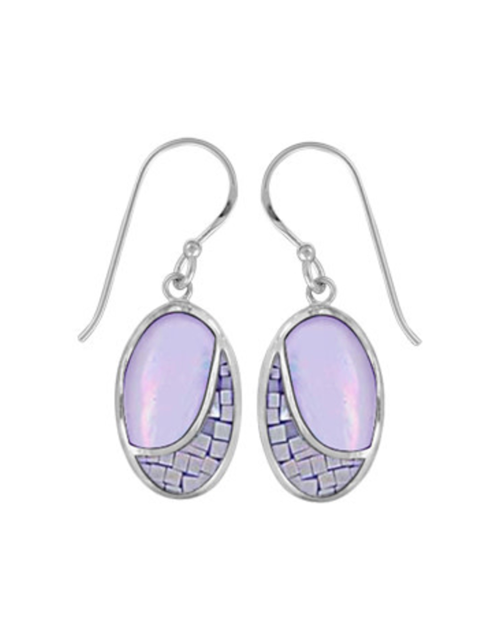 Boma OVAL MOSAIC PURPLE MOTHER OF PEARL FISHHOOK EARRING SILVER