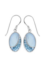 Boma OVAL MOSAIC BLUE MOTHER OF PEARL FISHHOOK EARRING SILVER