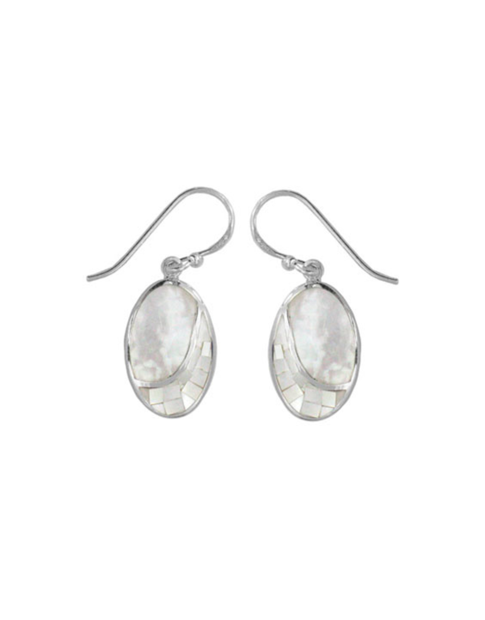 Boma OVAL MOSAIC MOTHER OF PEARL FISHHOOK EARRING SILVER