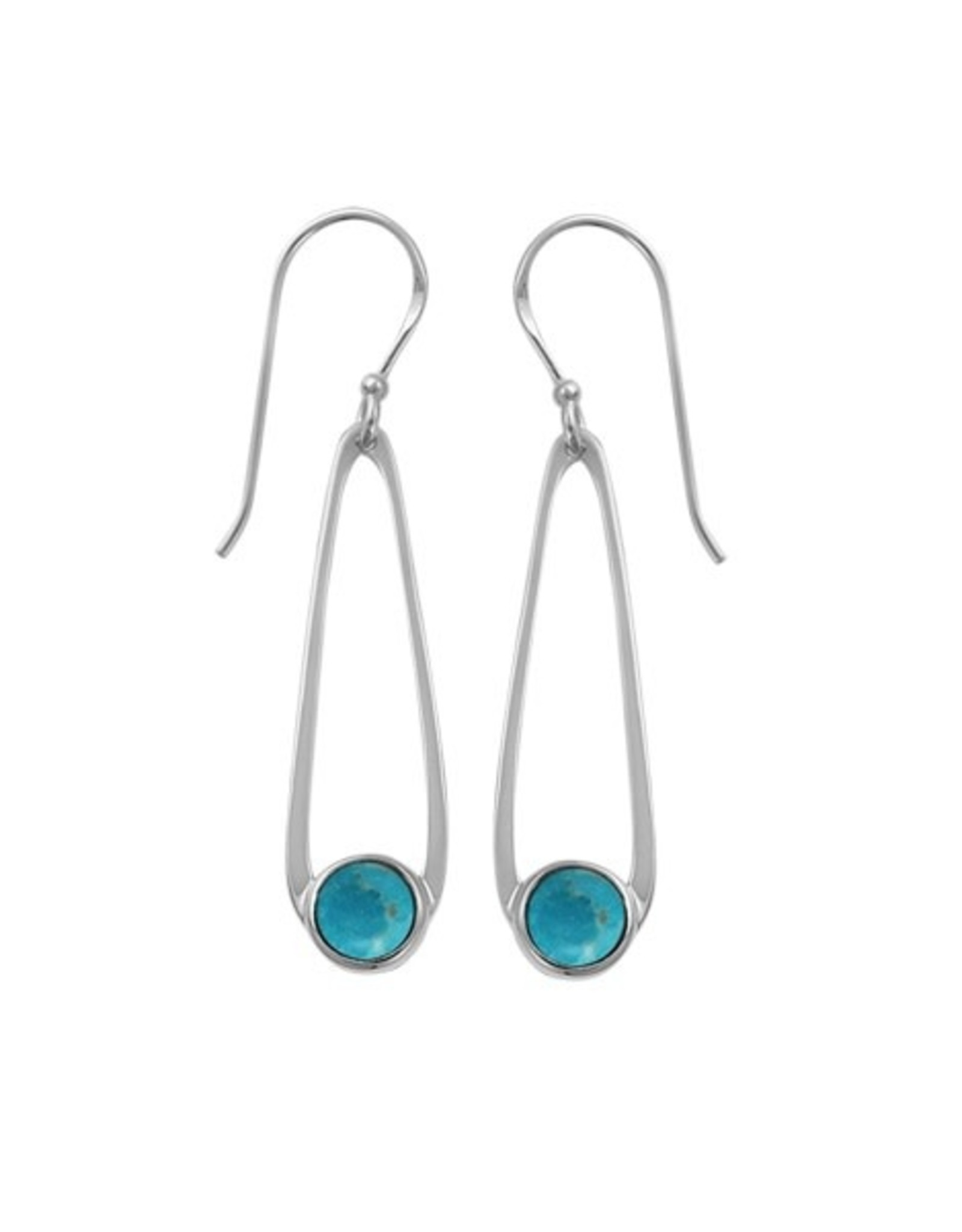 Boma OVAL TURQUOISE FISHHOOK EARRING SILVER