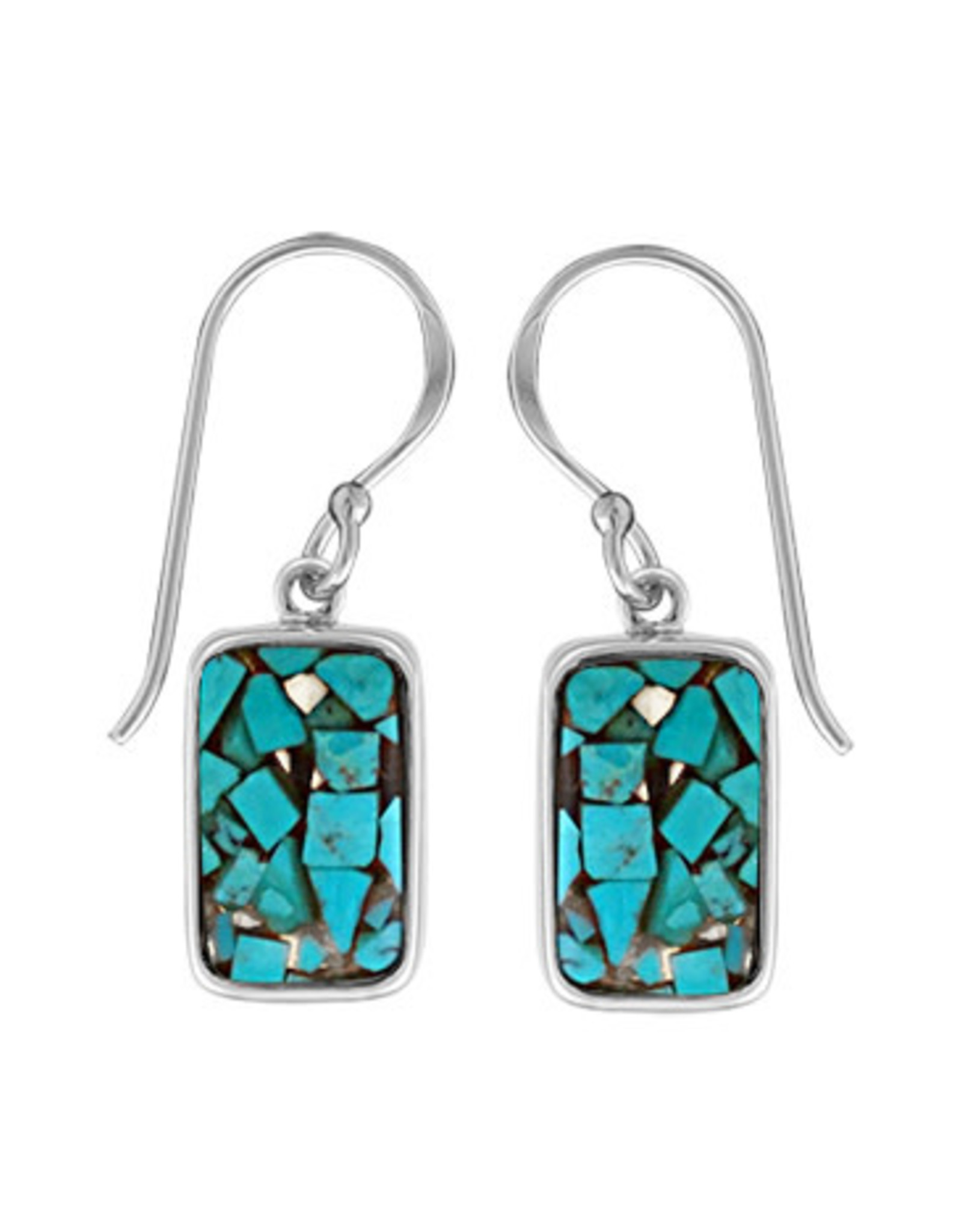 Boma MOSAIC RECYCLED TURQUOISE RESIN FISHHOOK EARRING SILVER