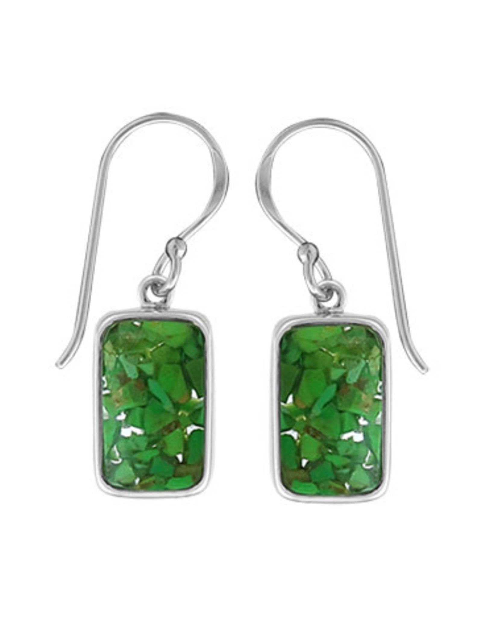 Boma MOSAIC RECYCLED GREEN TURQUOISE RESIN FISHHOOK SILVER