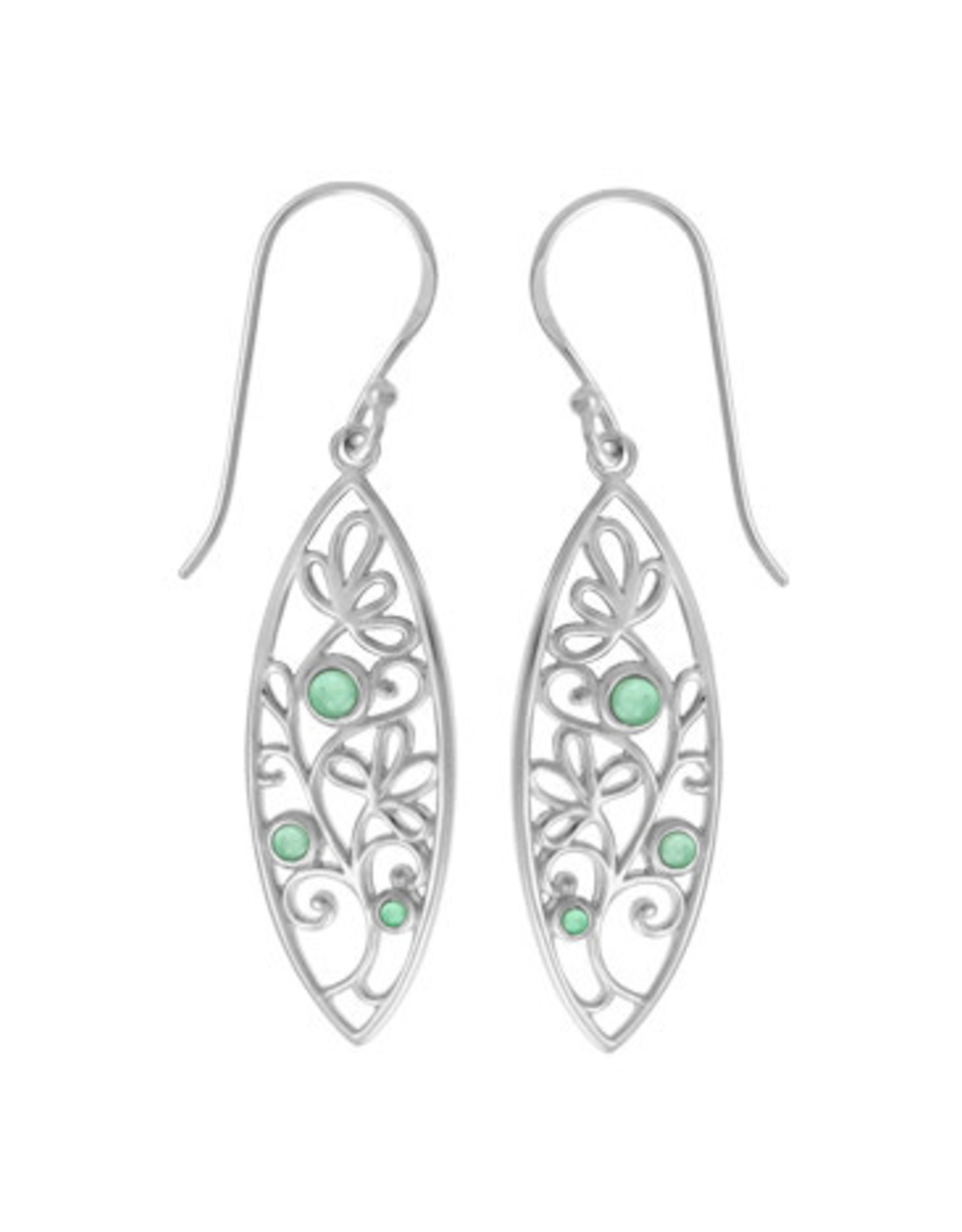 Boma LEAF GREEN MOTHER OF PEARL FISHHOOK EARRING SILVER