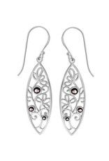 Boma LEAF BLACK MOTHER OF PEARL FISHHOOK EARRING SILVER