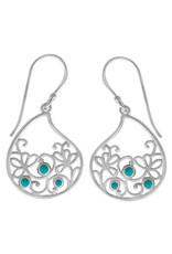 Boma LEAF TURQUOISE FISHHOOK EARRING SILVER