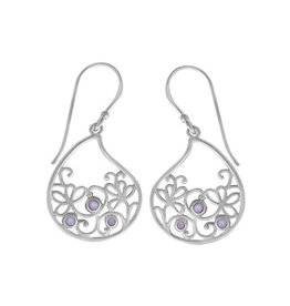 Boma LEAF PURPLE MOTHER OF PEARL FISHHOOK EARRING SILVER