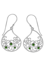 Boma LEAF GREEN TURQUOISE FISHHOOK EARRING SILVER
