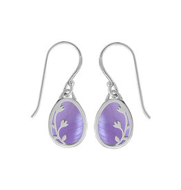 Boma BRANCH PURPLE MOTHER OF PEARL FISHHOOK EARRING SILVER