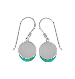 Boma TURQUOISE CIRCLE LAYER FISHHOOK EARRING SILVER