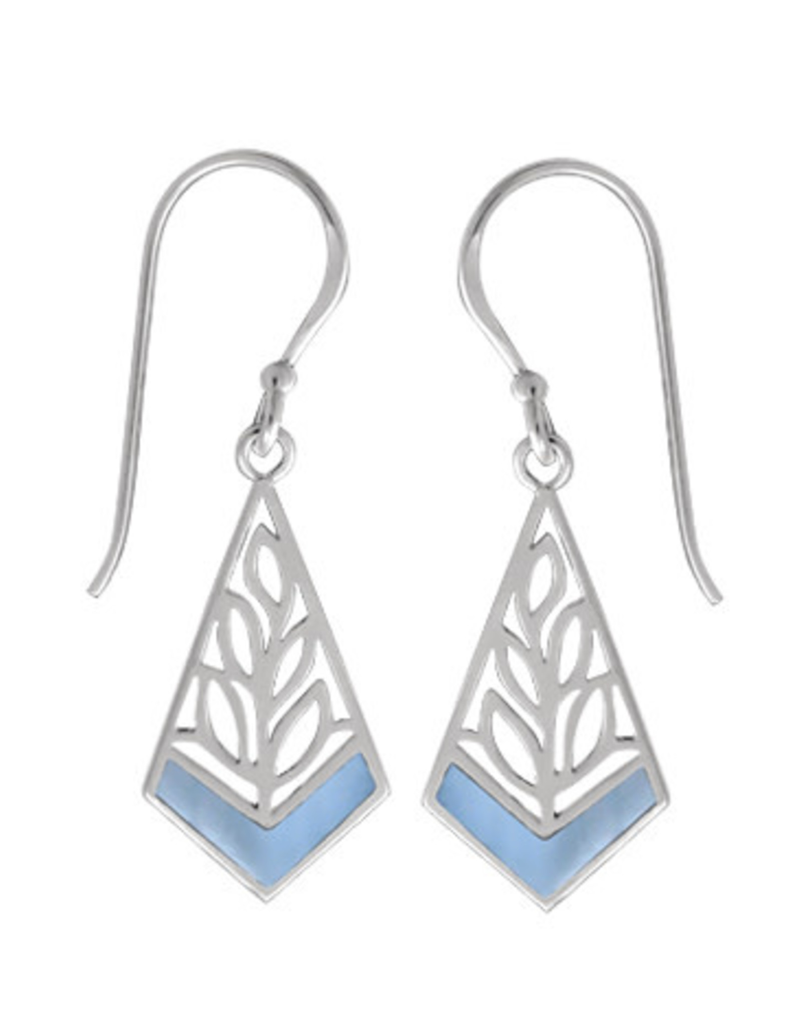 Boma LEAF BLUE MOTHER OF PEARL FISHHOOK EARRING SILVER