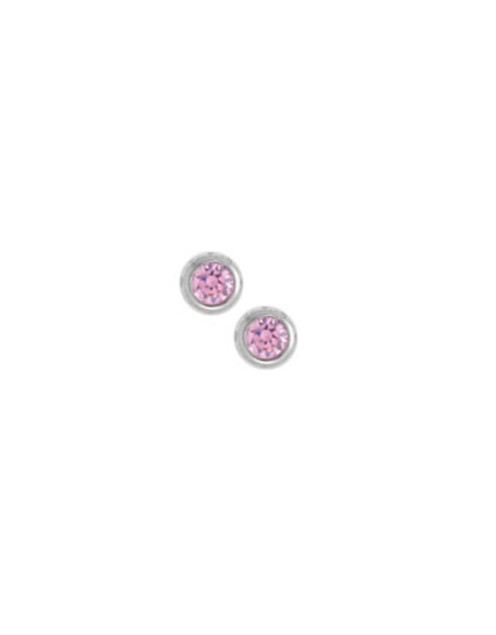 Boma PINK CRYSTAL STUD EARRING SILVER