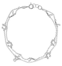 "Boma MUSICAL NOTES BRACELET 7.5"" SILVER"