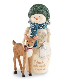 Pavilion Gift FRIENDS WITH DEER SNOWMAN