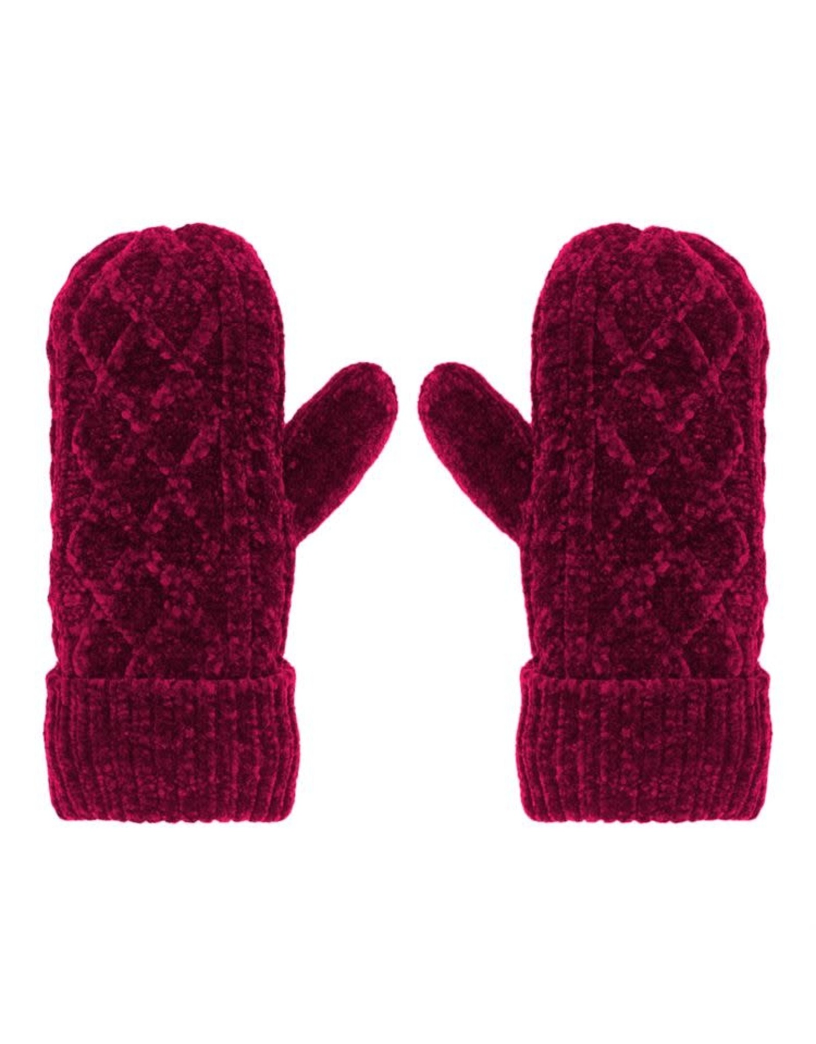 Pudus CABLE KNIT CHENILLE MITTENS