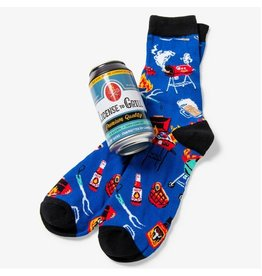 Little Blue House LICENCE TO GRILL MEN'S BEER CAN SOCKS