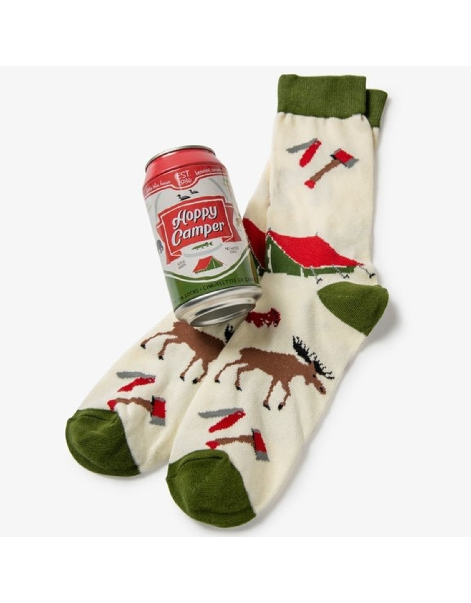 Little Blue House HOPPY CAMPER MEN'S BEER CAN SOCKS