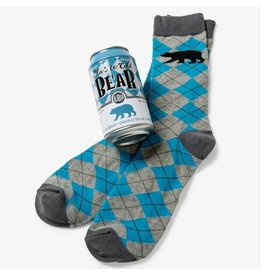 Little Blue House ICE COLD BEAR MEN'S BEER CAN SOCKS