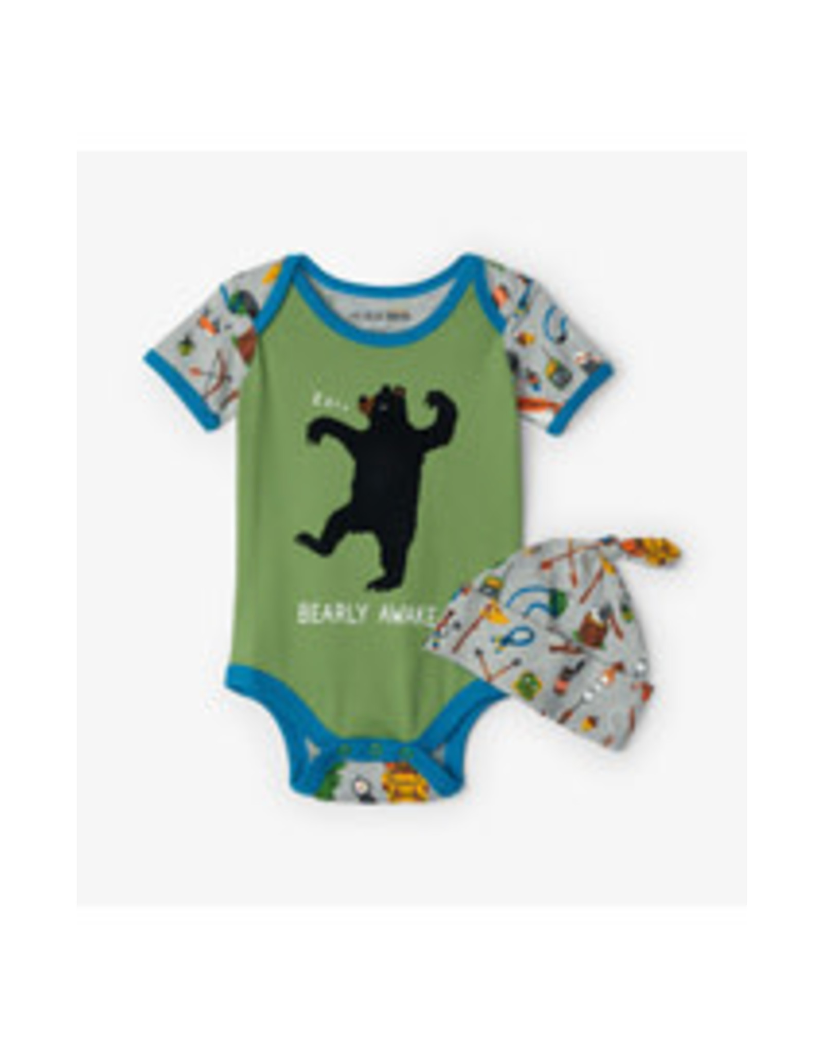 Little Blue House RETRO CAMPING BABY BODYSUIT AND HAT