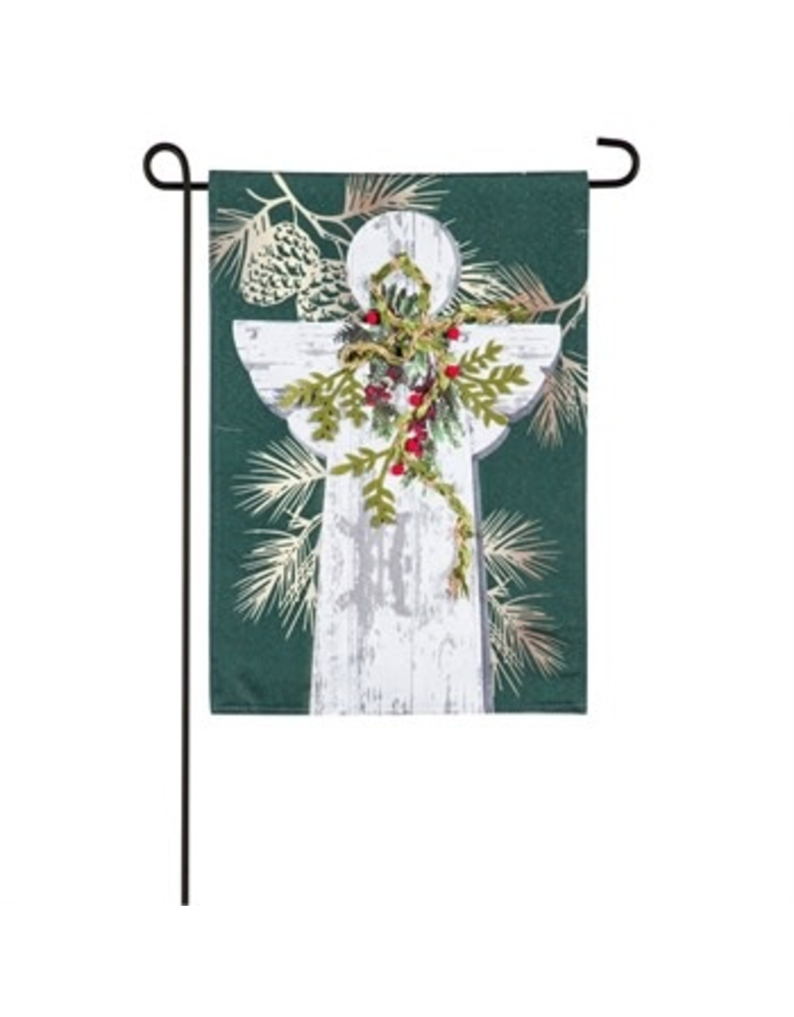 Evergreen WOODGRAIN ANGEL GARDEN LINEN FLAG