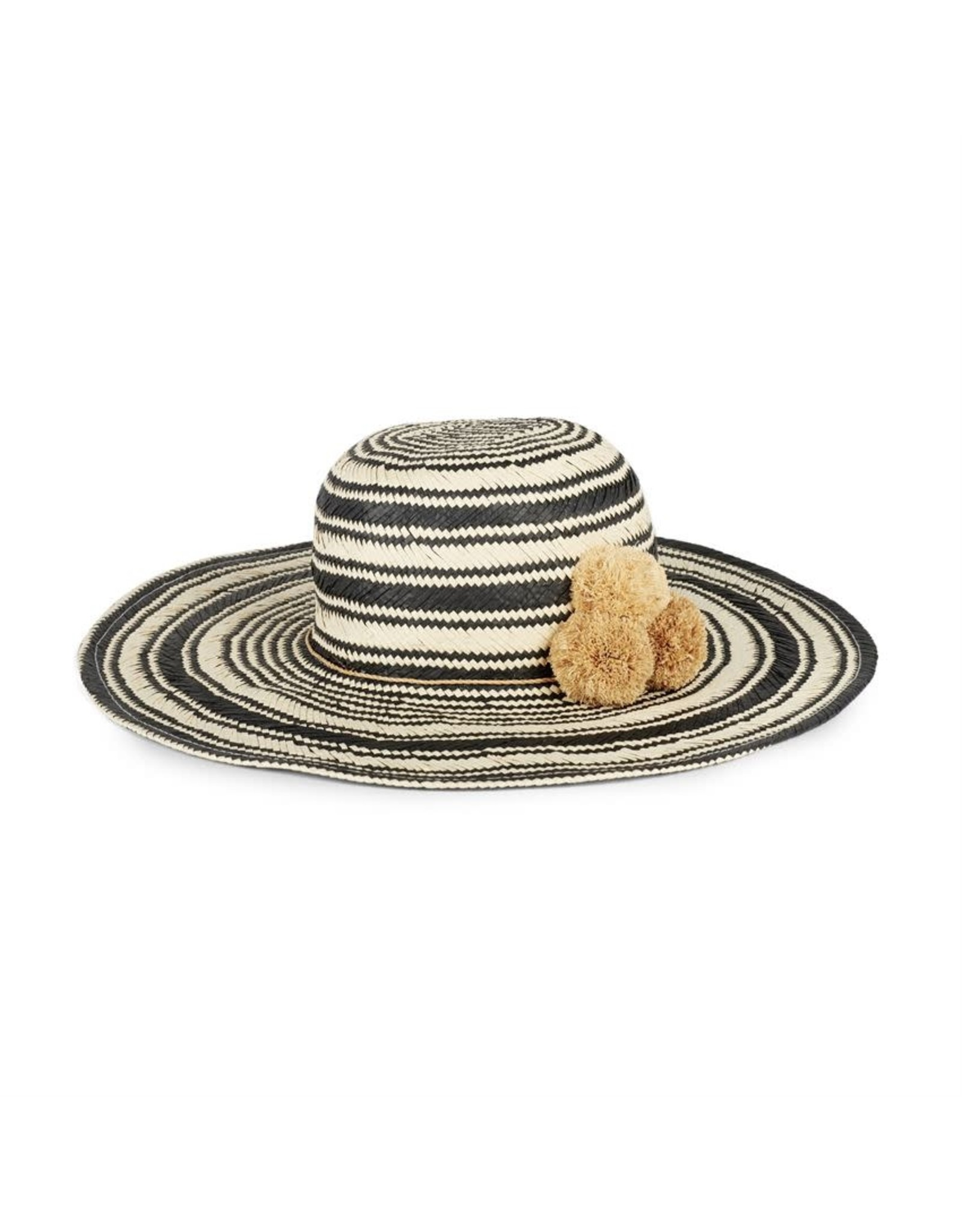 TGB / Good Bead SOPHIA FLOPPY STRIPED HAT WITH POMPOMS