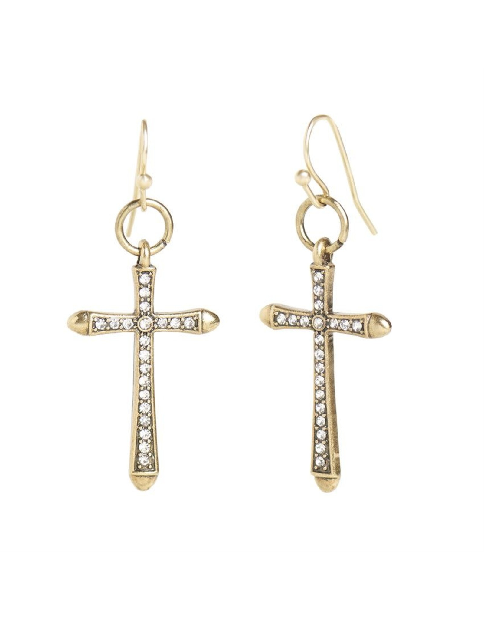 TGB / Good Bead DANGLE CROSS EARRINGS GOLD