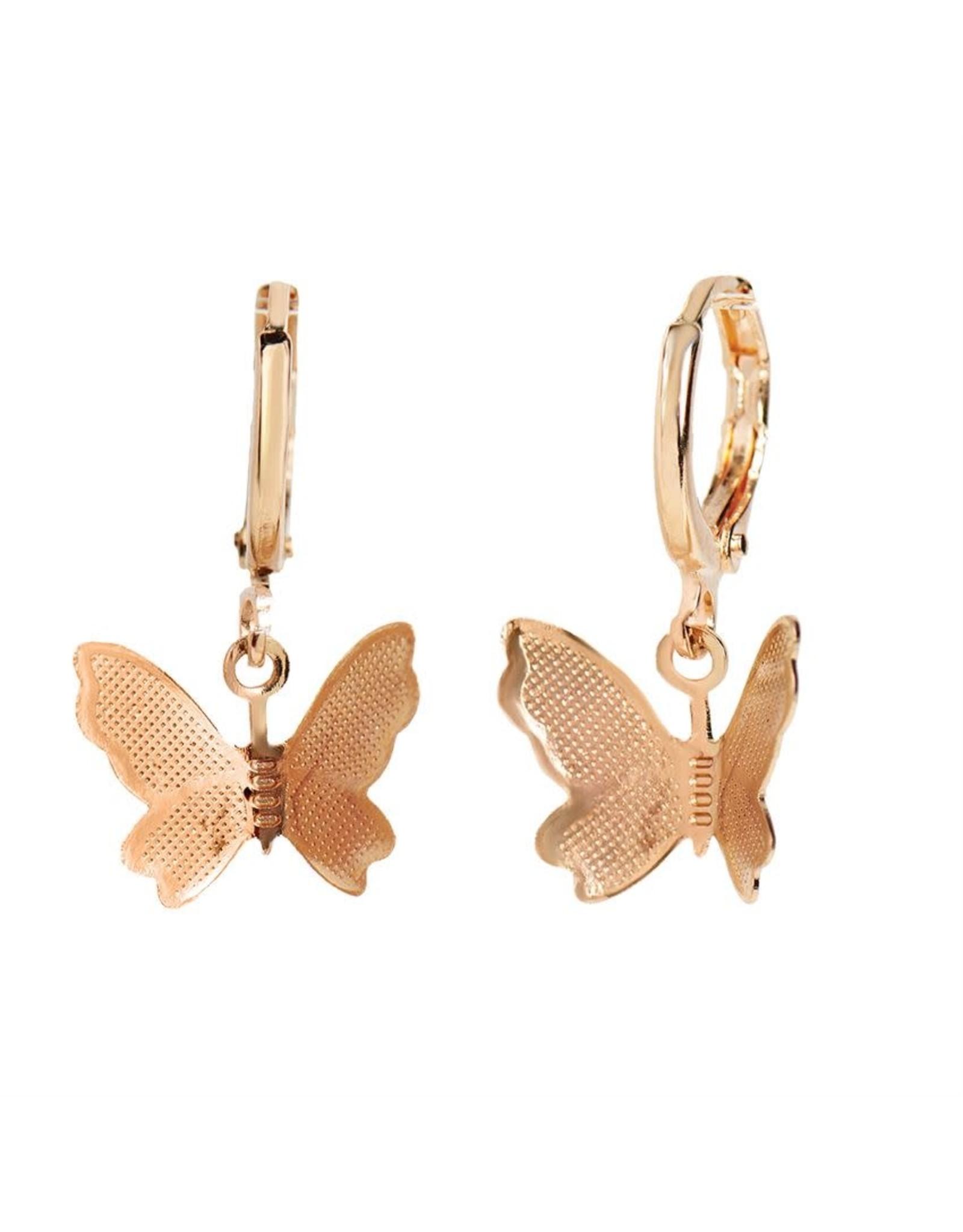 TGB / Good Bead BUTTERFLY CIRCLE HOOP EARRINGS GOLD