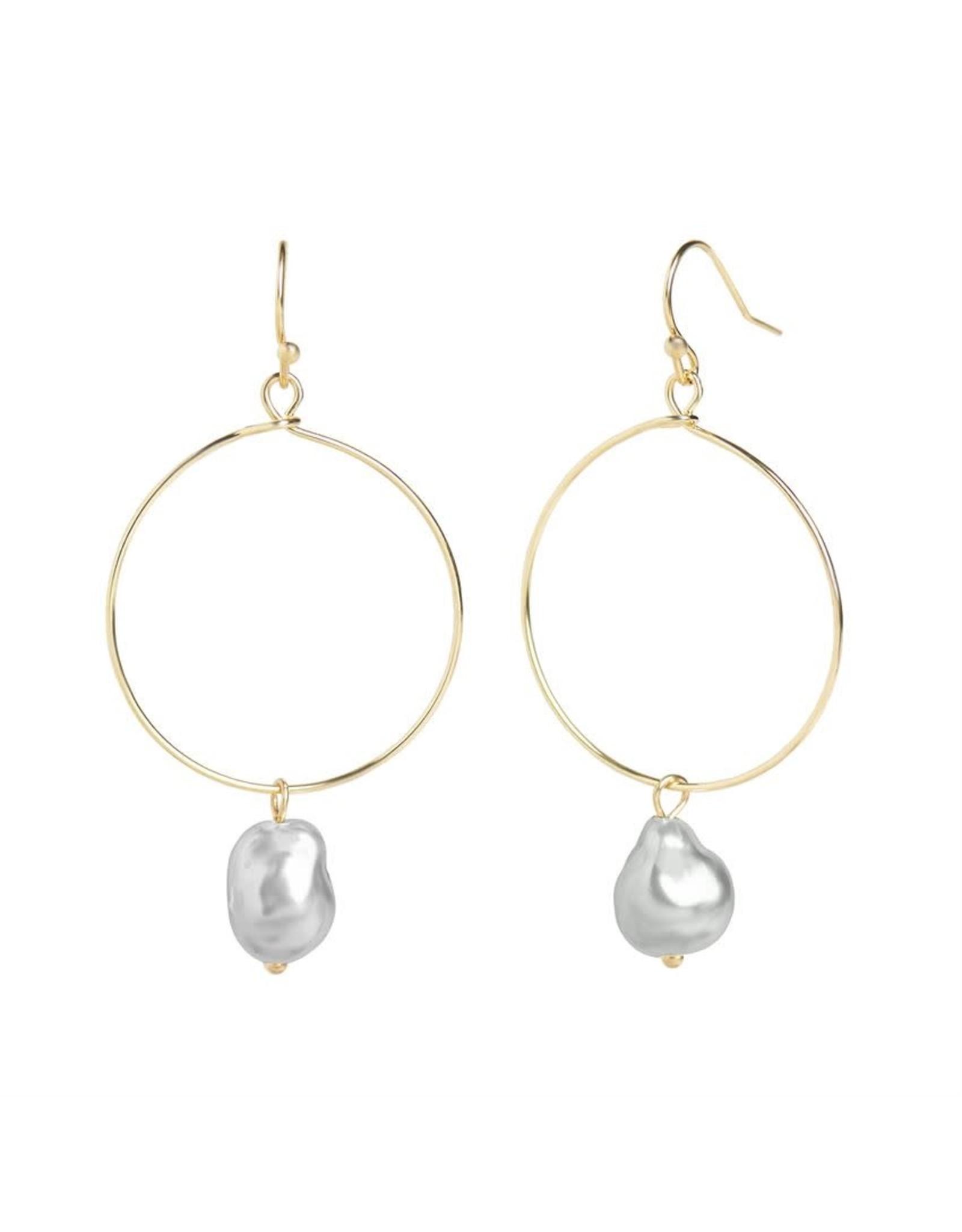 TGB / Good Bead GOLD HOOP PEARL EARRINGS GREY