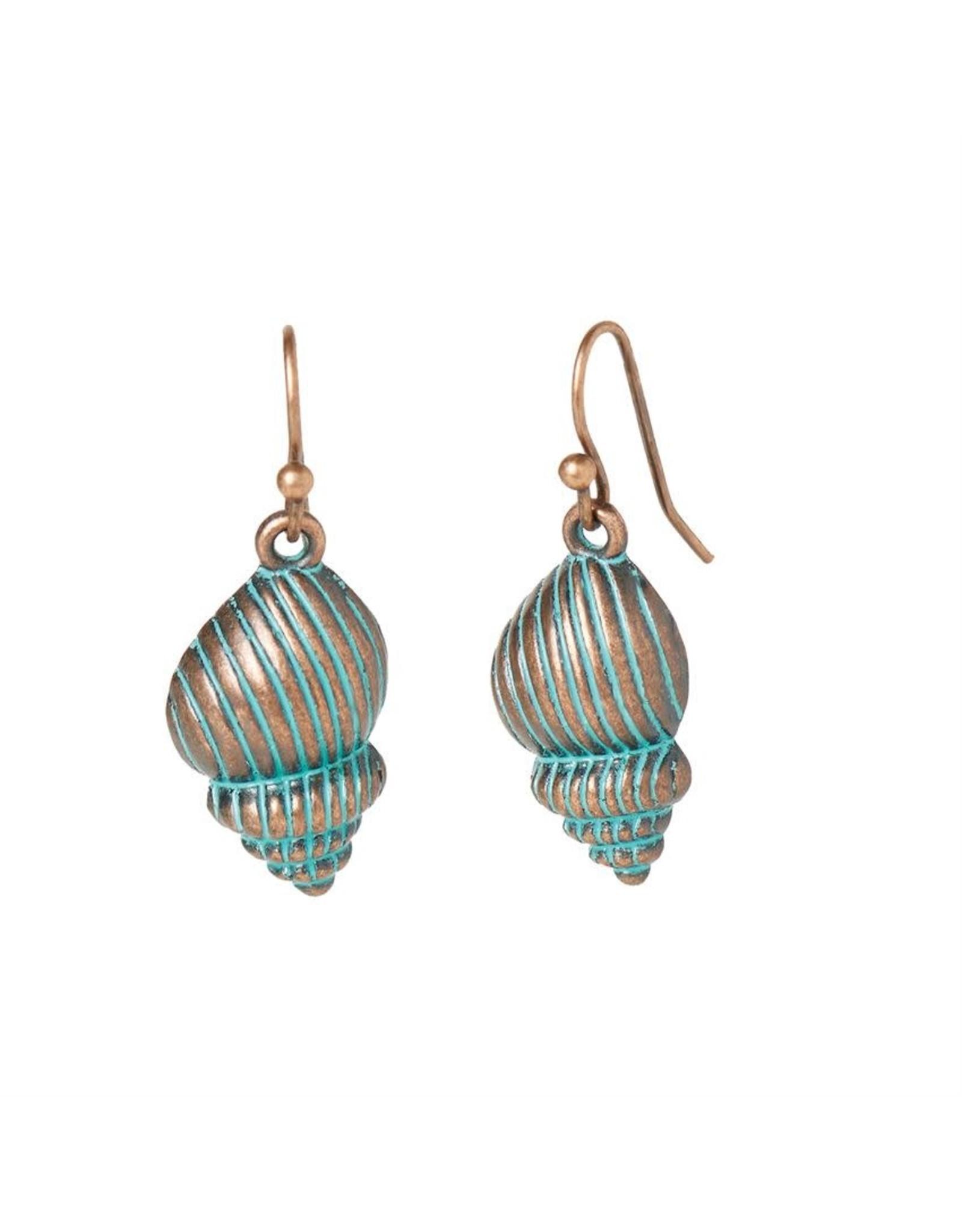 TGB / Good Bead SWIRL SHELL PATINA EARRINGS