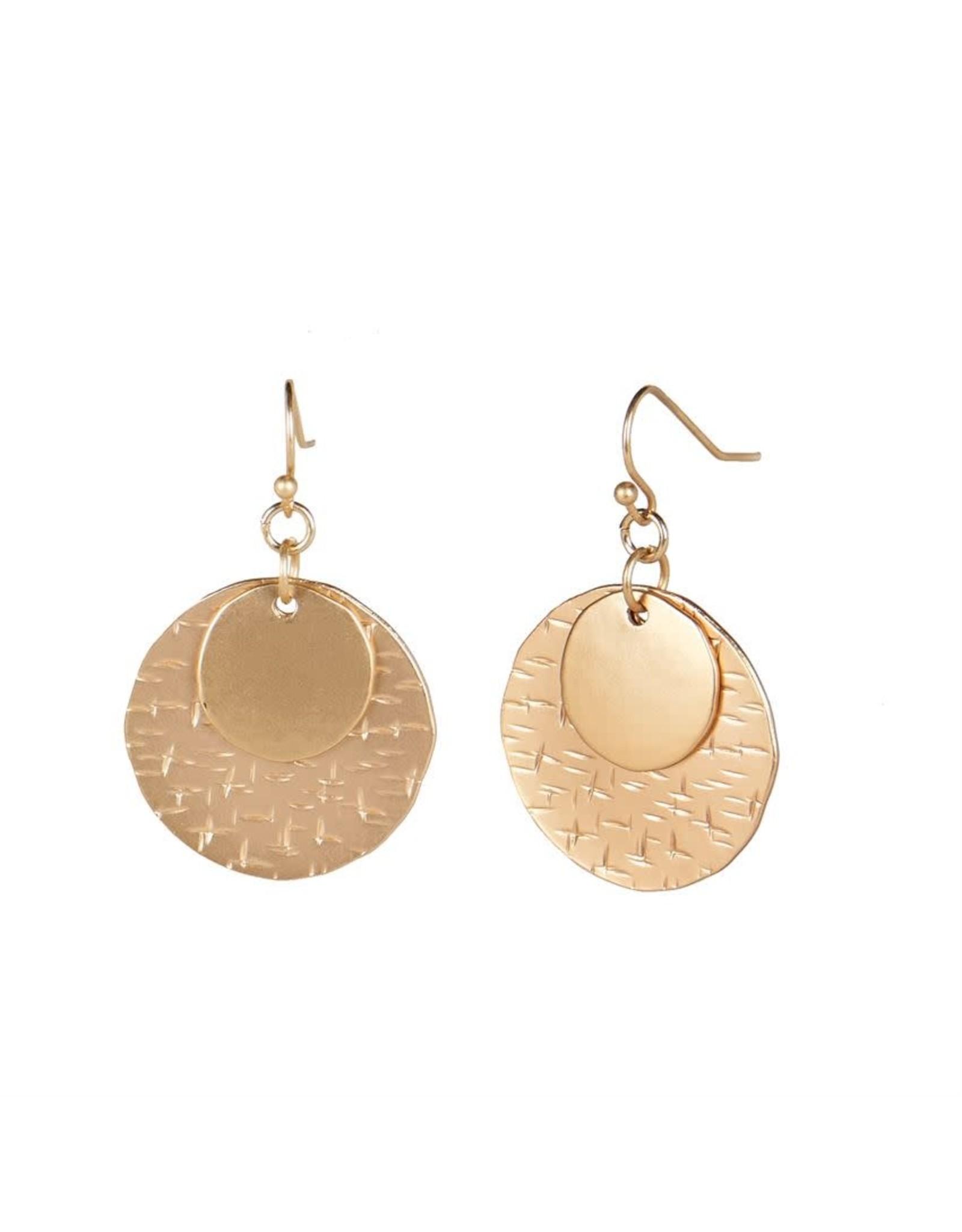 TGB / Good Bead GOLD STACKED MOON DANGLE EARRING