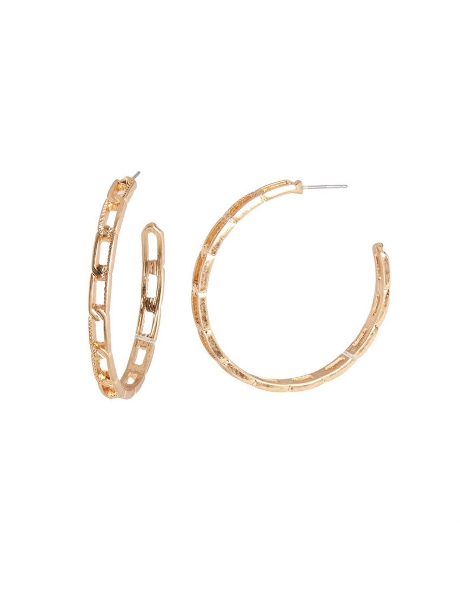 TGB / Good Bead ANTIQUE GOLD CHAIN HOOP EARRING