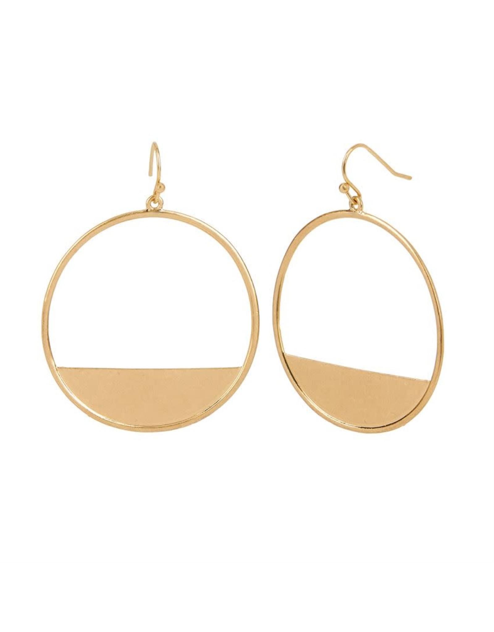 TGB / Good Bead CRESCENT BLOCK HOOP EARRINGS GOLD