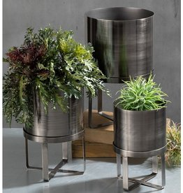 Sullivans GALVANIZED PLANTER WITH STAND SMALL