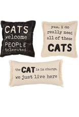 Mud Pie CHARGE CANVAS CAT PILLOW