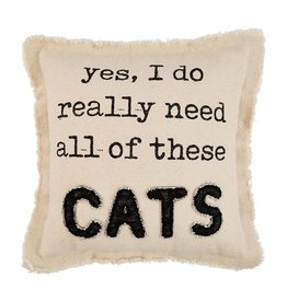 Mud Pie YES CANVAS CAT PILLOW