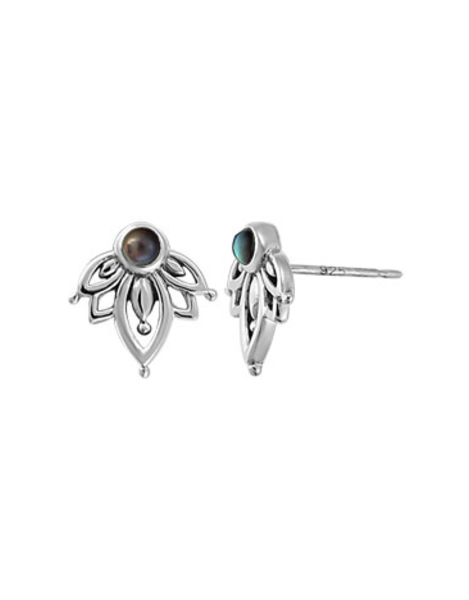 Boma FLOWER BLACK MOTHER OF PEARL STUD EARRING SILVER