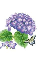 Paper Products Designs HYDRANGEA BUTTERFLY BEVERAGE NAPKIN