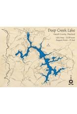 Lake Art DEEP CREEK LAKE SINGLE DEPTH MAP BLACK