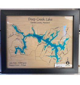 Lake Art DEEP CREEK LAKE SINGLE DEPTH COLOR MAP 11X14