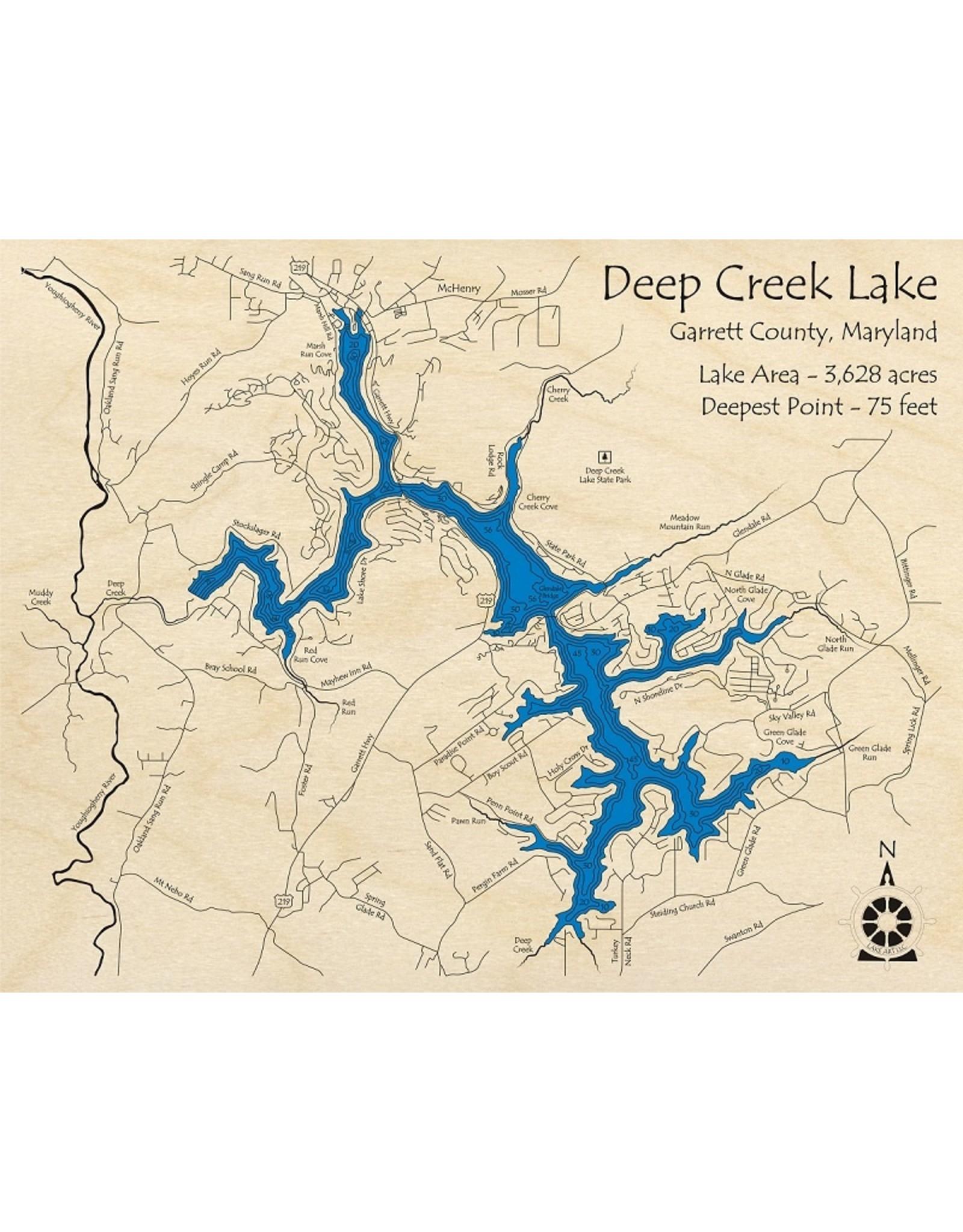 Lake Art DEEP CREEK LAKE MAP 3D RUSTIC